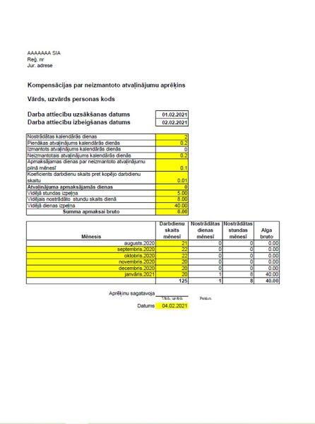 Kompensācijas par neizmantoto atvaļinājumu aprēķina veidlapa
